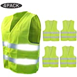 Pudiman Hi-Vis Car Reflective Safety Vest Neon Yellow 360 Degree Visible for Car, Bike, Motorbike, large