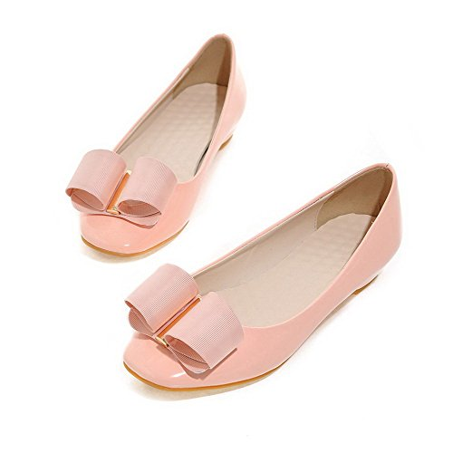 AllhqFashion Damen Niedriger Absatz Rein Ziehen Auf Quadratisch Zehe Pumps Schuhe Pink