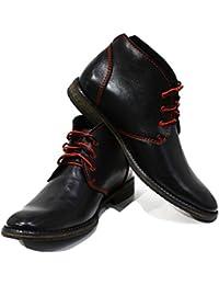 12d4771f951c PeppeShoes Modello Ferrara - Handgemachtes Italienisch Leder Herren Schwarz  Stiefeletten Chukka Stiefel - Rindsleder Weiches Leder