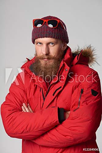 druck-shop24 Wunschmotiv: Man Wearing red Winter Jacket #122849061 - Bild auf Alu-Dibond - 3:2-60 x 40 cm / 40 x 60 cm (Mens Winter Jackets 3x)