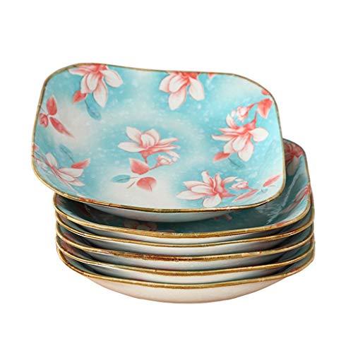 Assiettes à dîner en porcelaine de 20,2 cm (8 po) de cuisine Malacasa Assiettes à salade Assiettes à dessert en céramique sécuritaires Assiettes à soupe Assiette à dîner carrée en porcelaine, paquet d