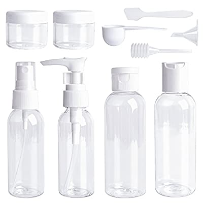 Travel Bottles Set 10 Pcs Air Travel Size Bottle Toiletries Liquid Containers for Cosmetic Makeup with Storage Bag by Ouway