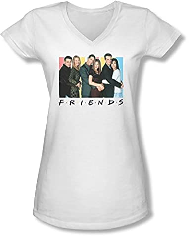 Friends - Juniors Cast Logo V-Neck T-Shirt, Small, White