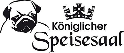 GRAZDesign 640101_30_070 Wandtattoo Königlicher Speisesaal | Wandsticker für Wohnzimmer | Hunde Sprüche Hundesalon (70x30cm//070 schwarz)