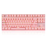 Goofly Wired/Wireless Dual Mode 87 Keys Red Switch Mechanical Keyboard 2.4G Wireless Backlit Gaming Keyboard Built-in Rechargeable Battery Aluminium Alloy Panel for Desktop/Laptop (Pink)