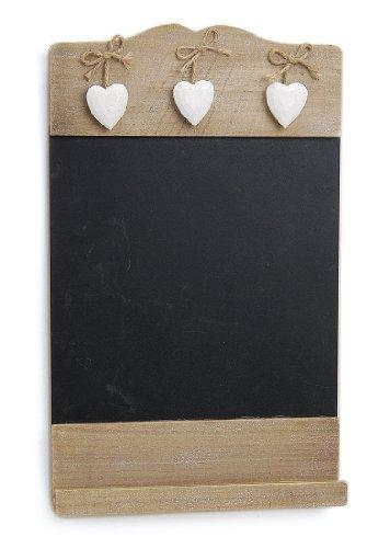 Landhaus Memotafel in Herzform zur Beschriftung mit Kreide, 22 x 20 cm Küchentafel Kreidetafel Herz für Notizen