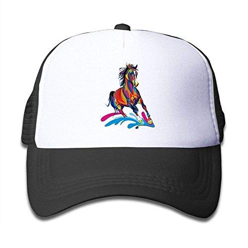 JIEKEIO Funny Baseball Caps Hats Colorful Horse Mesh Baseball Cap Kid Boys Girls Adjustable Golf Trucker Hat (Golf Boys Oakley)