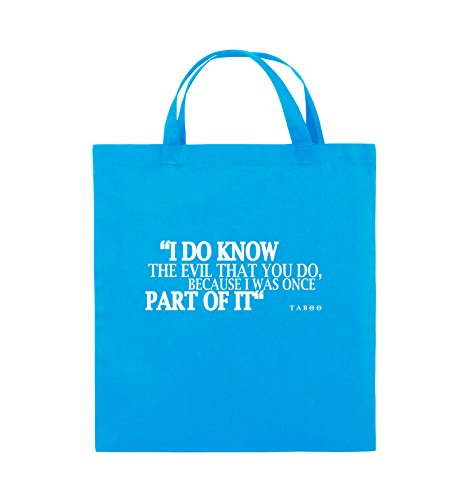 Comedy Bags - I DO KNOW THE EVIL - TABOO - Jutebeutel - kurze Henkel - 38x42cm - Farbe: Schwarz / Silber Hellblau / Weiss