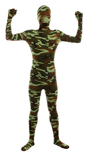 Sheface Adults Spandex Full Bodysuit Fancy Dress Halloween Costumes (X-Large, Green Camouflage)
