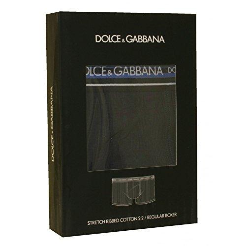 Dolce & Gabbana Gestreift Taille Strecke Gerippt Herren Boxer Trunk, Marine Dunkelblau