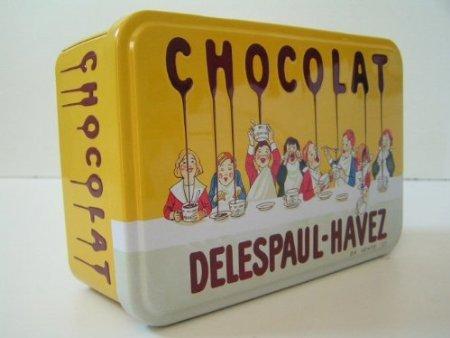 boite a sucre metal 20x13x7 cm chocolat delespaul havez