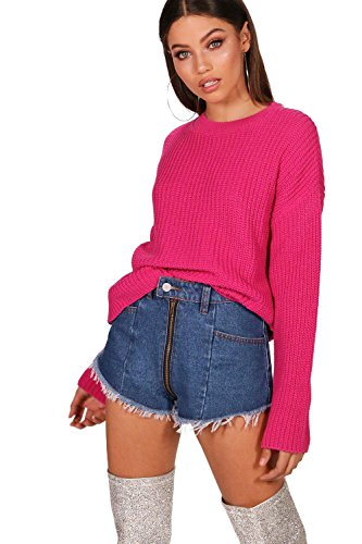 Magenta Damen Ebony Cropped Wide Sleeve Knitted Jumper - S (Pullover Sleeve Wide)