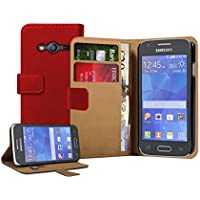 Membrane - Rouge Portefeuille Etui Coque Samsung Galaxy Ace 4 (SM-G357 / G357FZ) - Wallet Flip Case Cover Housse