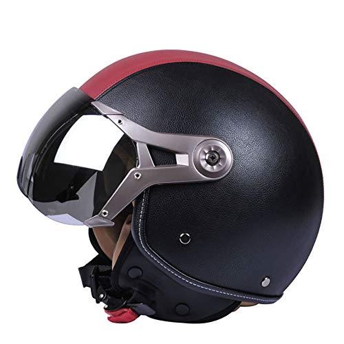 MMGIRLS Motorcycle Aspetto Mezzo Casco Anti-collisione Casco Jet Casco DOT Certificazione Vintage Harley Casco Quattro Stagioni Unisex - Pelle Nero Rosso,XL