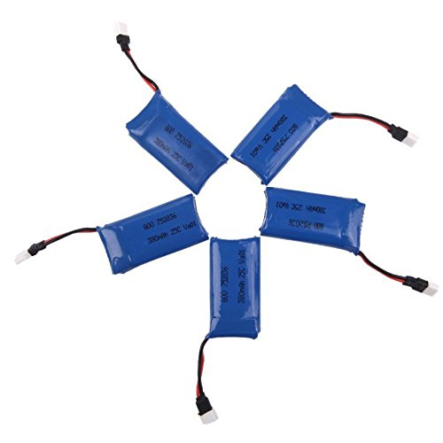 Hubsan Drohne Lipo Batterie Akku 3.7V 380mAh mit 1 to 5 USB Ladegeraet fuer X4 H107 H107L H107C H107D - 3