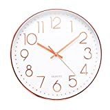 Jeteven 12'' Rose Gold Wall Clock Silent Non-ticking Wall Clock for Living Room Bedroom Decor