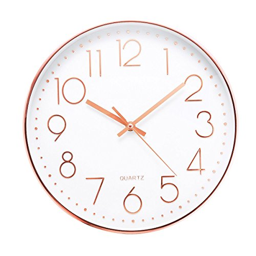 Jeteven 12'' Rose Gold Wall Clock