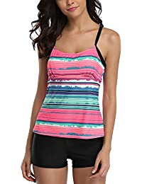 CharmLeaks Womens Padded Tankini with Shorts UV Sun Protection Two Piece Swimsuit