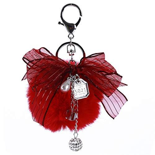 JOOFFF Band Bow Keychain Hairball Auto Schlüsselanhänger Handtasche Schlüsselhalter Stilvolle Damentasche Hängende Ornament Dekor Zubehör, Rot