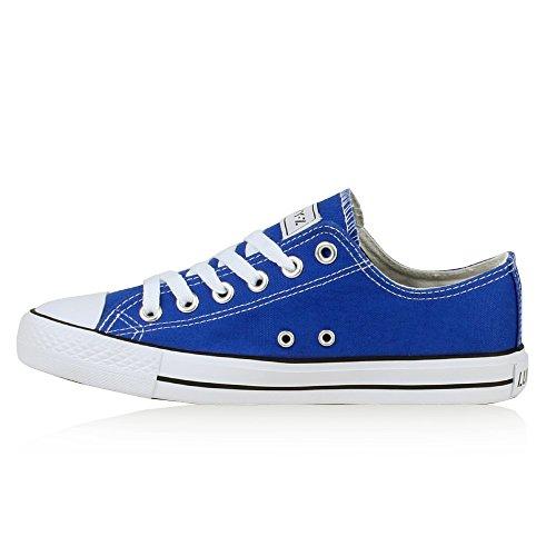 Damen Schuhe Sneakers | Turnschuhe Freizeitschuhe | Low Sneaker | Übergrößen | Prints Glitzer Denim Blau
