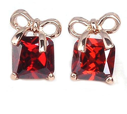 Lily - Orecchini con cristallo Austriaco color rubino quadrato, placcato oro rosa 18K