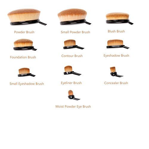 Profi Oval Contour Kosmetik Schmink Pinsel Set - 10-teilig - Make up Brushes Set Foundationpinsel /...