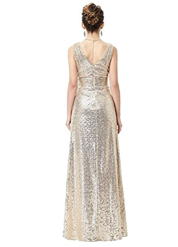 Brinny ärmellos Gold Schwarz Silber Brautjungfer Kleid Party kleid Langes  Promkleider Langes Dame Elegantes V- ...