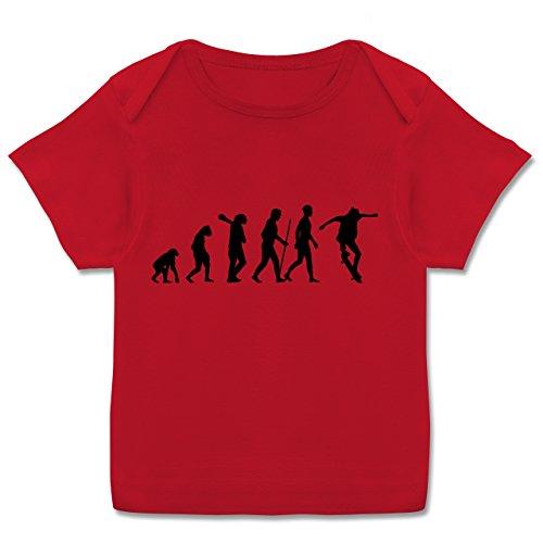 Skateboard-baby-kleidung (Evolution Baby - Skateboard Evolution - 56-62 (2-3 Monate) - Rot - E110B - Kurzarm Baby-Shirt für Jungen und Mädchen in verschiedenen Farben)