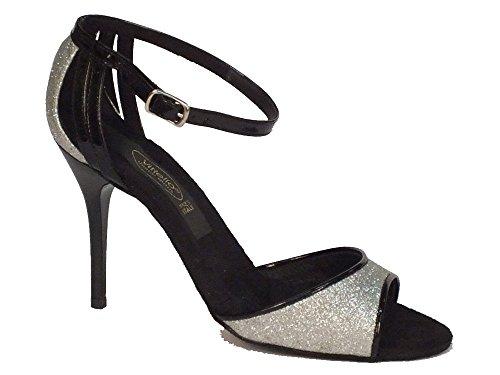 Scarpa da donna per ballo tango in cristal argento e cinturino vernice nero (Taglia 36)
