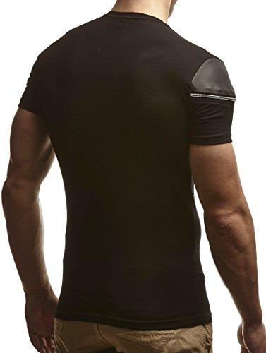 LEIF NELSON Herren T-Shirt Hoodie Longsleeve V-Neck V-Ausschnitt Shirt Sweatshirt Rundhals Sweatshirt LN310 Schwarz