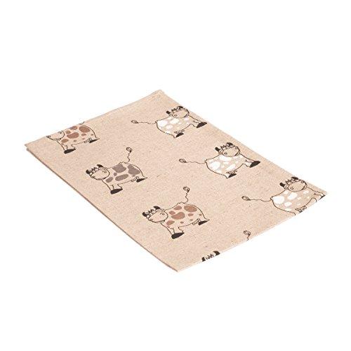 Vaitkute 216019 - Set di 2 asciugapiatti Kuh misto lino con stampa motivo: alci 50% lino e 50% cotone lavabili a 40º 240 g/ m2 47 x 70 cm colore: naturale