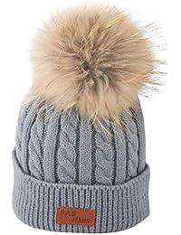 QUICKLYLY Gorro Bebé de Lana Tejido Invierno Grueso Sombrero para Niños Y  Niñas Bufanda Conjunto Slouchy 12f044c04bb