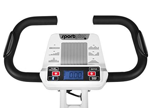 SportPlus Ergo X-Bike mit App-Steuerung, 24 motorgesteuerte Widerstandstufen, inkl. Bluetooth Brustgurt (nur für kurze Zeit!), TÜV/GS, klappbar, int. Tablethalterung, Benutzergewicht bis 100 kg - 2