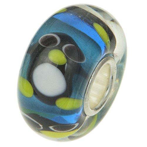 (925Sterling Silber Rund Cute Pinguin Blau Glas Perle für europäische Charm-Armbänder)