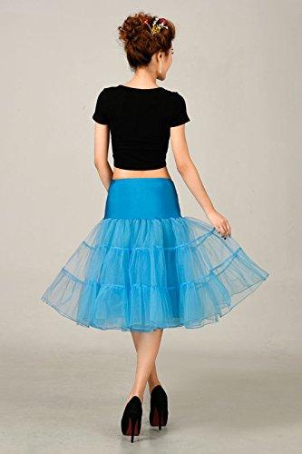 VKStar® Kurz elastische Taille petticoat Krinoline Unterrock Reifrock für Kleider Blau