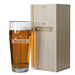 Idea Regalo - Cofanetto bicchiere birra personalizzato con nome inciso
