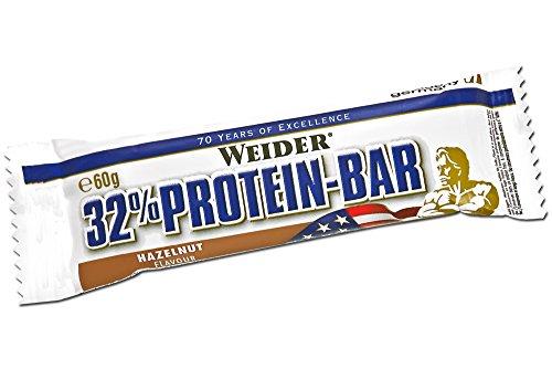 Weider 32{5cffec5351146b4c6659f4afd21c0704082b7da2e4f50bdfcf0e50b396ca32f5} Protein Bar, Haselnuss, 1er Pack (24x 60g Riegel)