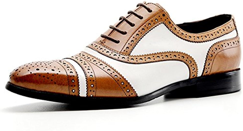 Zapatos Con Cordones Oxford Zapatos Casuales De Negocios Brogue Calzado Utilitario De Cuero Real De La Vendimia... -