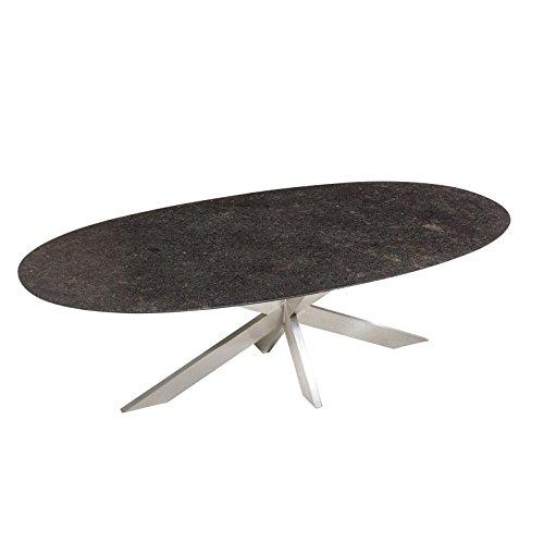 Granit Gartentisch Pearl Grey Satiniert Ovaler Dunkelgrauer