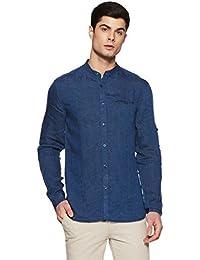 Celio Men's Solid Regular Fit Linen Casual Shirt