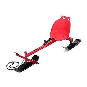 ZHAOK Ski Schlitten Downhill Winter-Schlitten, Außen Schlitten,Schlitten Mit Grips, Ski Carts, Ski-Zubehör, Schlitten, Ski Anfänger Ski,Rot