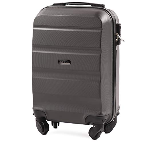 VINCI LUGGAGE Geräumiger Kabinentrolley - Leichter Flugzeugkoffer - Luxuriöser und moderner Koffer mit zweistufigen Teleskopgriff und Kombinationsschloss (Dunkelgrau, XS 51x33x20)