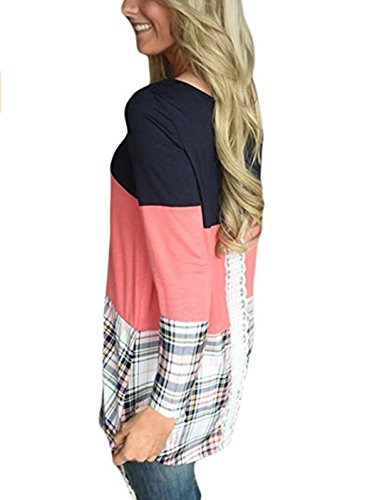 Donna Elegante Casuale Rotondo Collo Manica Lunga A-Line Pullover Vestito T-shirt Abito Beach Vestiti Shirts Rosa
