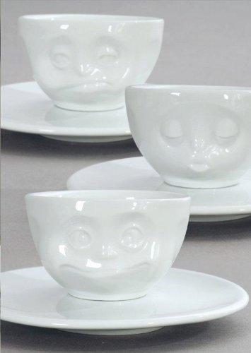 Espresso-Tasse grinsend, ca.7,5x5cm mit Untertasse (Espresso-kamin)