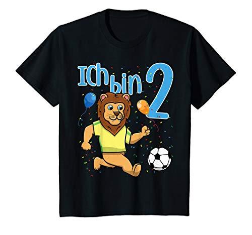 Kinder Zweiter 2. Geburtstag Fußball Löwe Ich Bin Zwei 2 Jahre T-Shirt (Lustige Kostüm Zu Zweit)