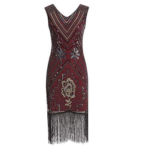 Go First Frauen 1920er Jahre Vintage Fransen Pailletten Perlen Quaste Midi Kleid Ärmellose V-Ausschnitt Quaste Abend Cocktail Party Kleider (Color : Rot, Size : Large)