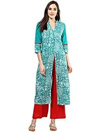 Jaipur Kurti Turquoise Green Geometric Print Kurta With Red Palazzo Set
