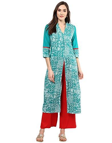 Jaipur Kurti Turquoise Green Geometric Print Kurta With Red Palazzo Set
