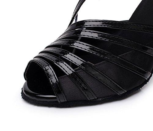 Minitoo QJ6105 - Sandali da ballo, dadonna, modello a dita scoperte, ideali per salsa, tango e balli latino-americani Black-10cm Heel