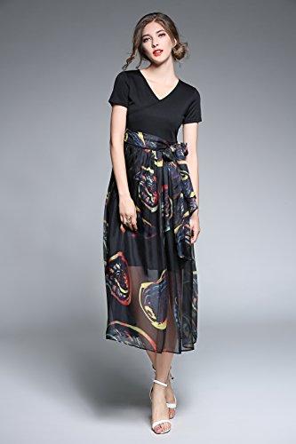 LAI MENG Damen V-Ausschnitt Flügelärmel Strandkleid Sommerkleid Midi Kleid mit Blumenmuster und Patchwork-Design Schwarz